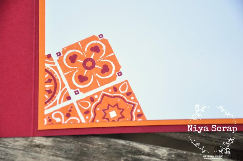 Niya Scrap - Carte carrée Carreaux de ciment Cerise carmin et Tarte au Potiron - matériel Stampin' Up!