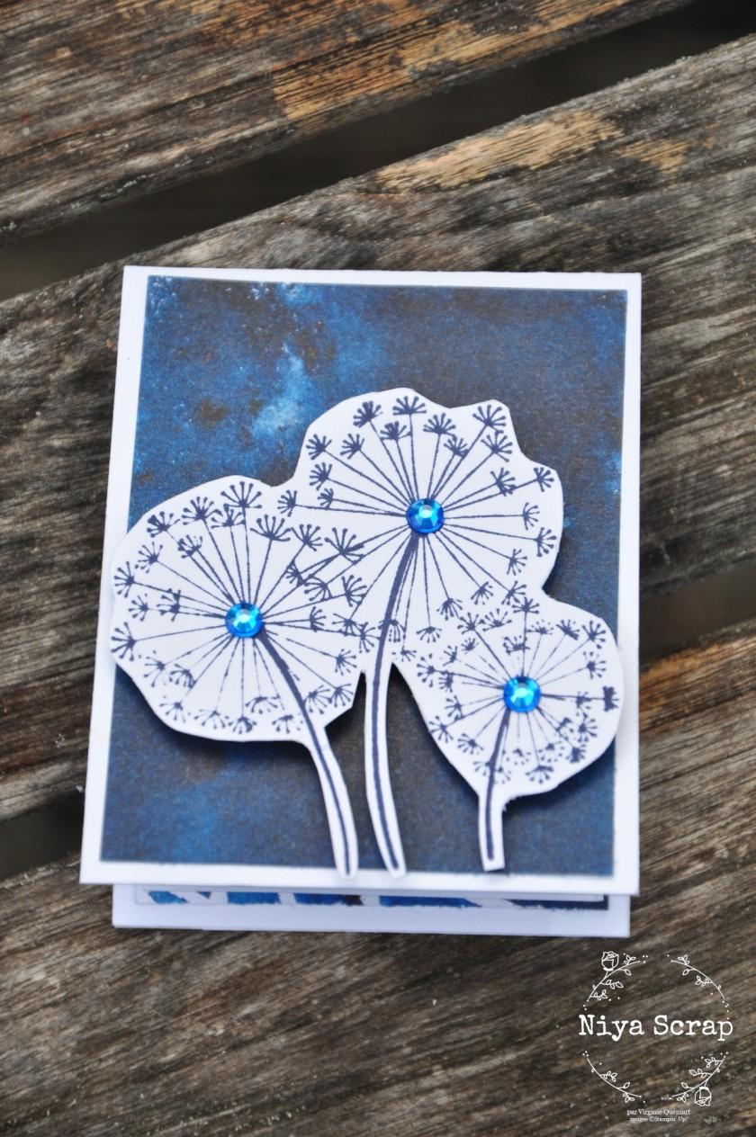 Niya Scrap - Carte pop-up Pissenlits bleus - matériel Stampin' Up!