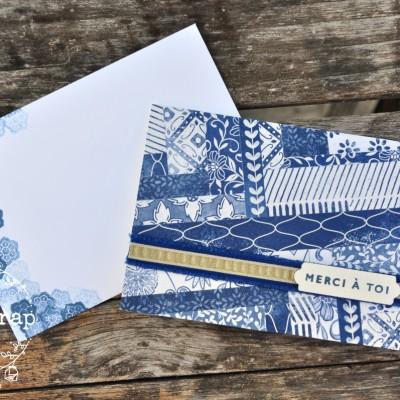 Niya Scrap - Carte technique des chevrons - herringbone technique - matériel Stampin' Up! - carte et enveloppe