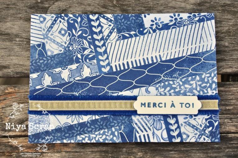 Niya Scrap - Carte technique des chevrons - herringbone technique - matériel Stampin' Up! - carte seule