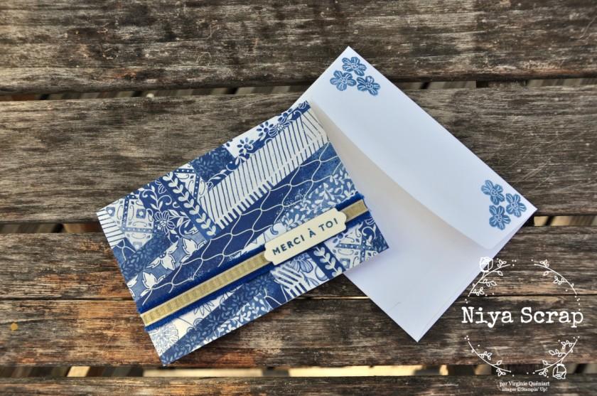 Niya Scrap - Carte technique des chevrons - herringbone technique - matériel Stampin' Up! - carte et dos enveloppe