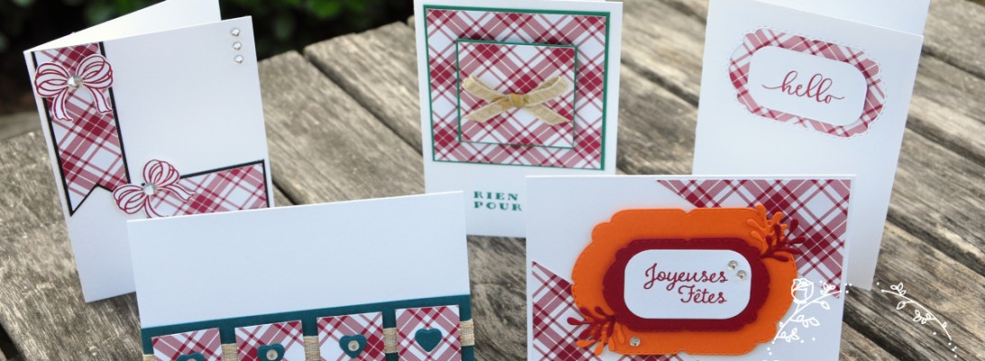 Niya Scrap - Carte One Sheet Wonder Cards - Joyeux Carreaux - matériel Stampin' Up! - les 5 cartes