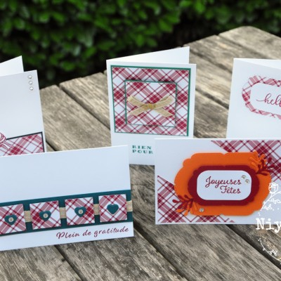 Niya Scrap - Carte One Sheet Wonder Cards - Joyeux Carreaux - matériel Stampin' Up! - les 5 cartes