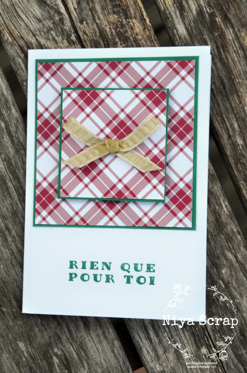 Niya Scrap - Carte One Sheet Wonder Cards - Joyeux Carreaux - matériel Stampin' Up! - Carte Sapin Ombragé