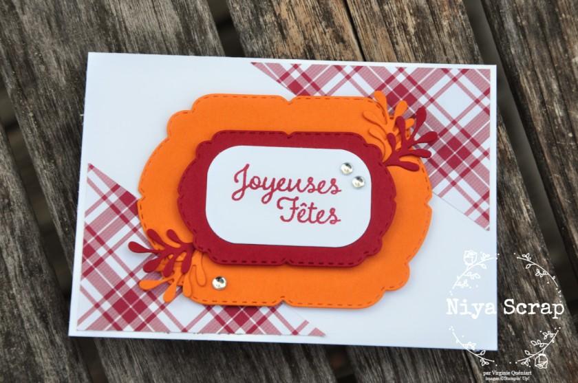 Niya Scrap - Carte One Sheet Wonder Cards - Joyeux Carreaux - matériel Stampin' Up! - Carte tarte au potiron