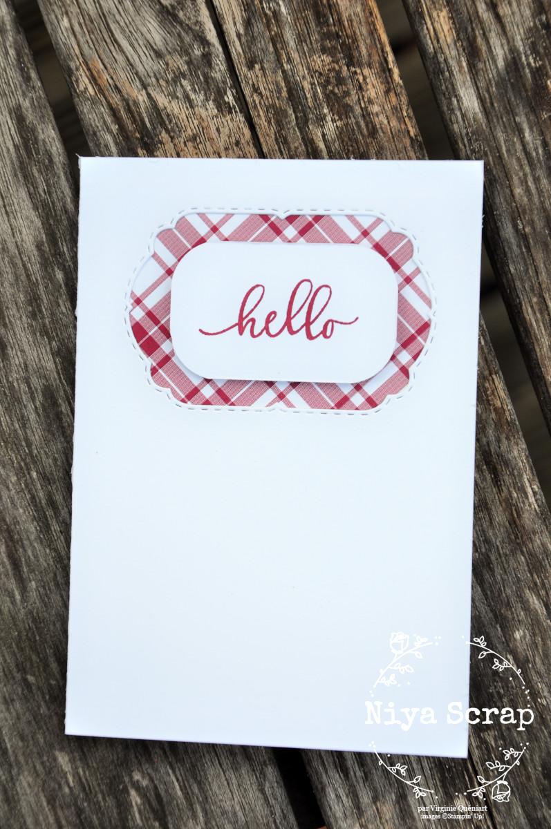 Niya Scrap - Carte One Sheet Wonder Cards - Joyeux Carreaux - matériel Stampin' Up! - Carte murmure blanc