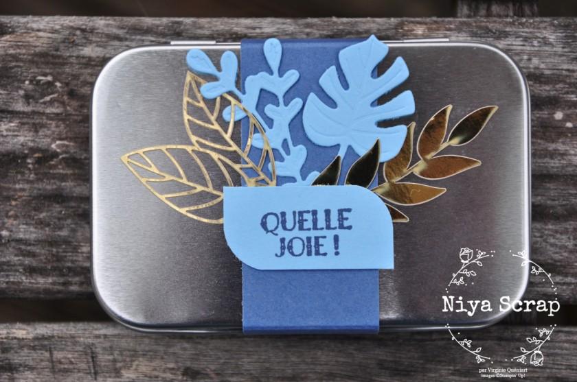 Niya Scrap - Coffret métallique cadeau bleu - Matériel Stampin' Up!