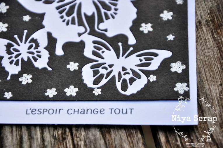Niya Scrap - Carte Noir et Blanc - matériel Stampin' Up! - détail texte