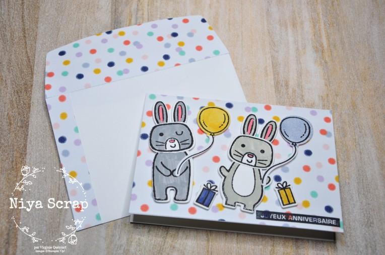 Niya Scrap - Carte Lapins Jumeaux - matériel Stampin' Up!