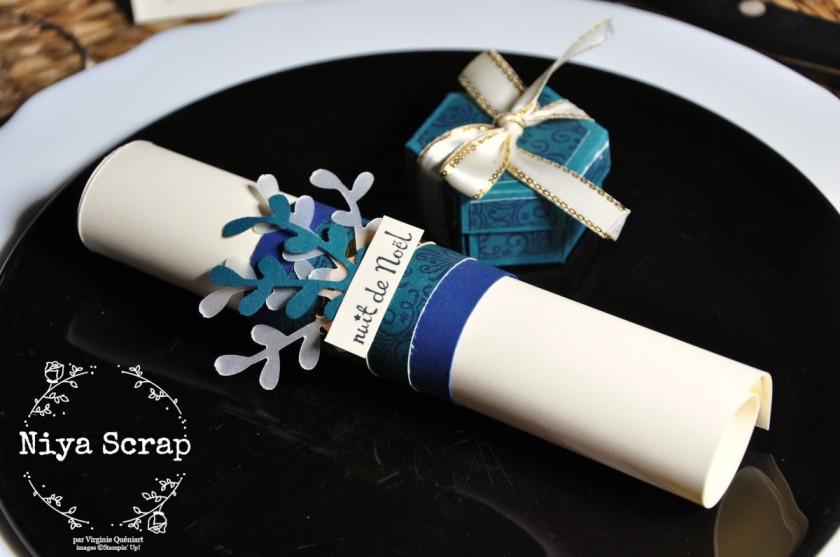 Niya Scrap - Rond de serviette et boîte - Décoration de table de Noël - Blog Hop Sweet Ladybirds - matériel Stampin' Up!