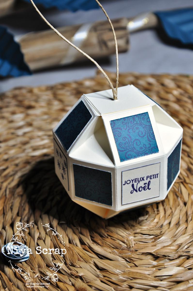 Niya Scrap - boule de Noël - Décoration de table de Noël - Blog Hop Sweet Ladybirds - matériel Stampin' Up!