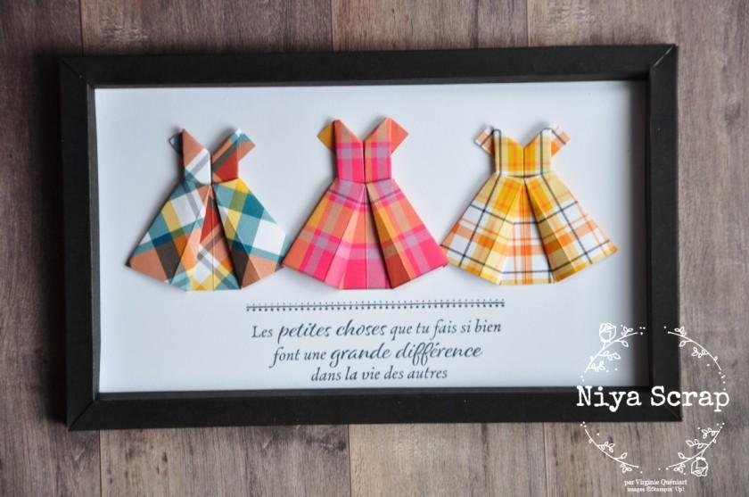 Niya Scrap - Cadre Fashion Week - Les Petites robes - origami - Blog Hop des Sweet Ladybirds - Matériel Stampin' Up!