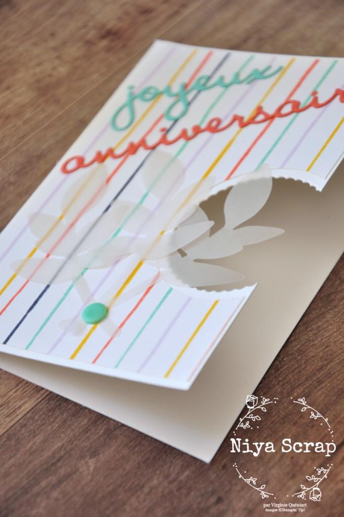 Niya Scrap - Carte Anniversaire cercle évidé rayures - Qui Scrappe me suivre Avril 2021 - Matériel Stampin' Up!