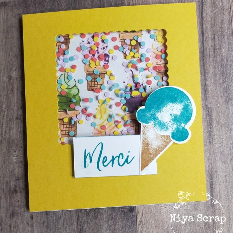 Niya Scrap - Carte Shaker - Collection été des glaces - Matériel Stampin' Up!