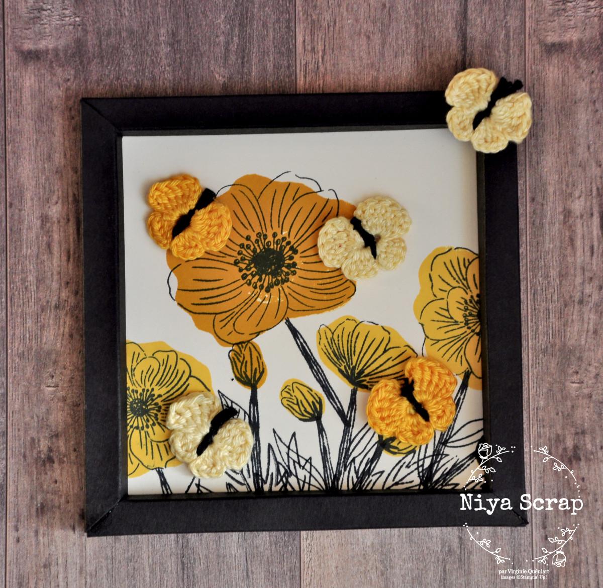 Niya Scrap - Cadre Papillons et Fleurs jaunes - Papier et Crochet - Matériel Stampin' Up!